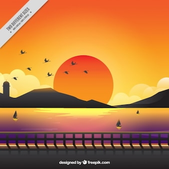 Cute background of a sunset with warm colors