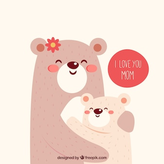 Cute background of bears hugging each other for mother's day