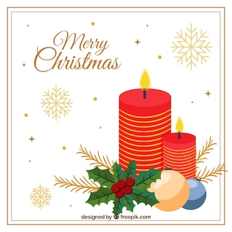 Cute background of merry christmas of red candles