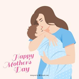 母のかわいい背景には、彼女の息子にキス