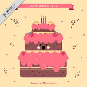 Симпатичный фон улыбающихся день рождения торт