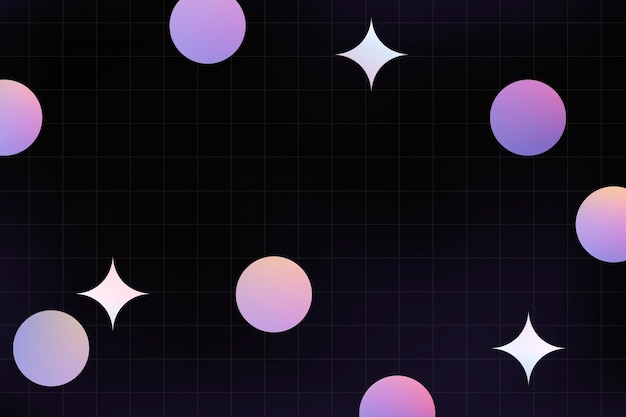 Cute background, purple holographic shapes vector