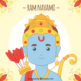 Cute background for ram navami in hand-drawn style