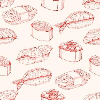 スケッチ寿司の様々なおいしいとかわいい背景のシームレスな背景