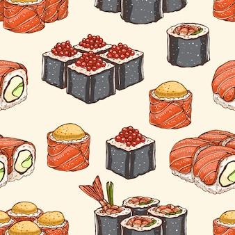 さまざまな美味しい寿司とかわいい背景のシームレスな背景