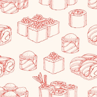 Cute background seamless background with sketch delicious variety of sushi