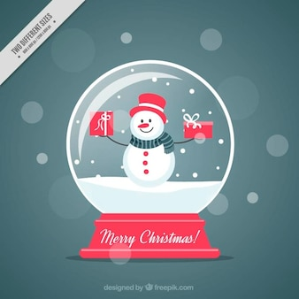 Cute background of snowglobe with snowman holding gifts