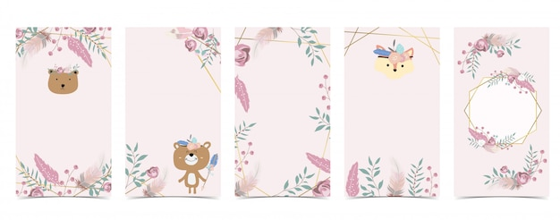 Cute background for social media.set of instagram story with bear,boho,flower,feather