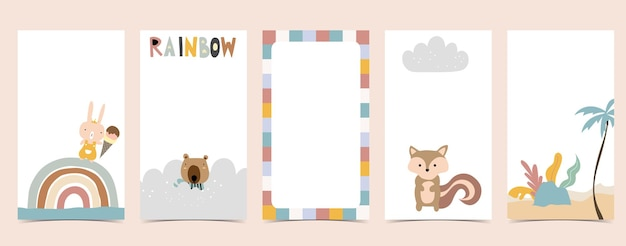 Cute background for social media.set of story with rainbow,bear,tree
