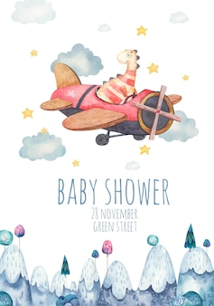 Cute background, template for childrens party, baby shower with dinosaur on plane, watercolor