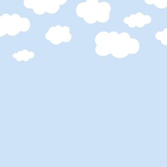 솜 털 구름 패턴으로 귀여운 배경 벡터