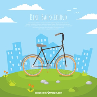 Cute background with bike and buildings