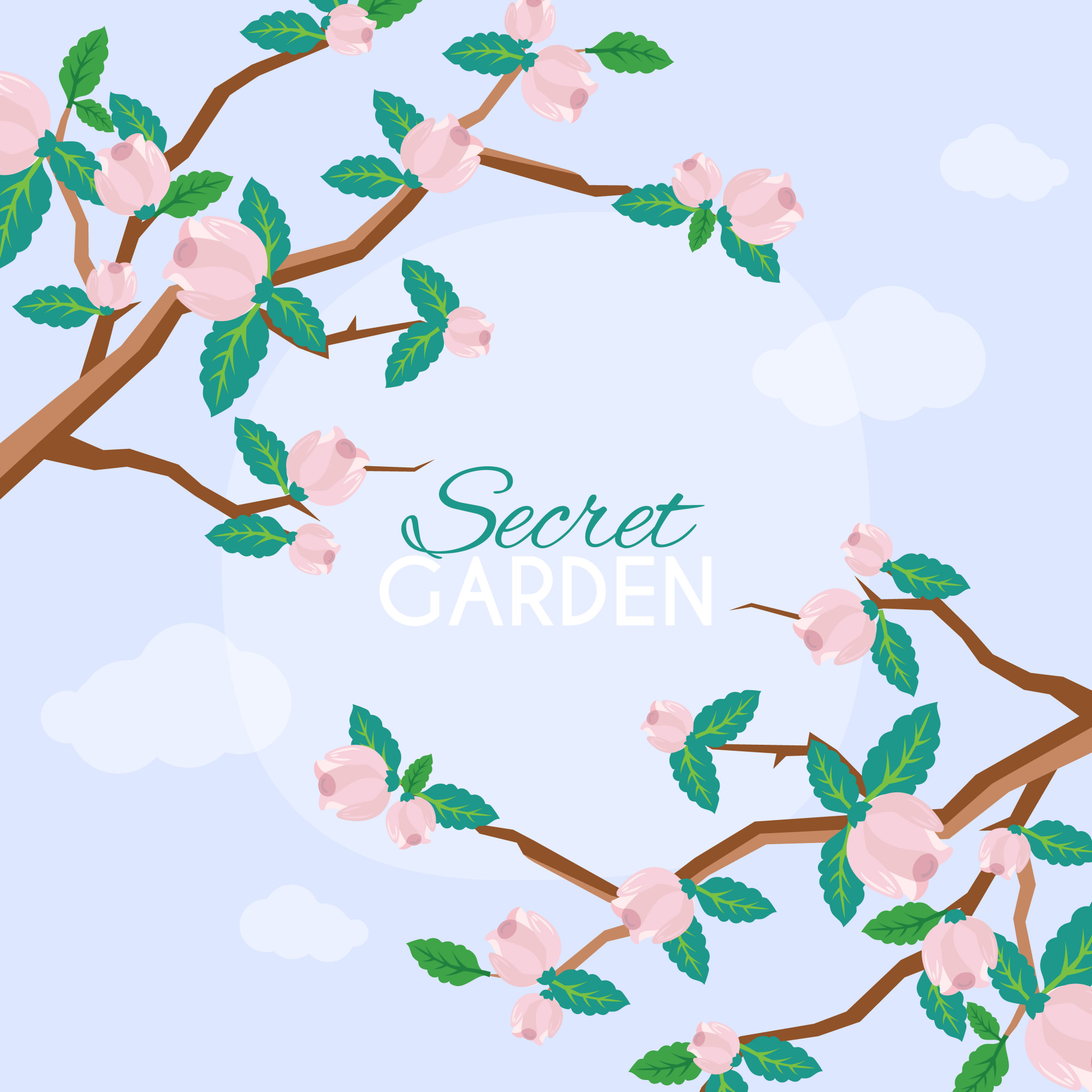 Cute background with cherry blossom flowers