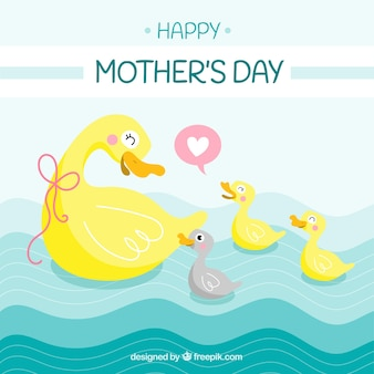 Cute background with ducks for mother's day