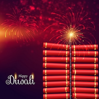 Cute background with fireworks for diwali