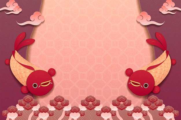 Cute background with fish and cloudy pattern in paper art style
