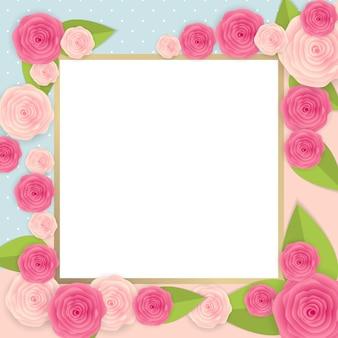 프레임 및 꽃 컬렉션 세트와 귀여운 배경