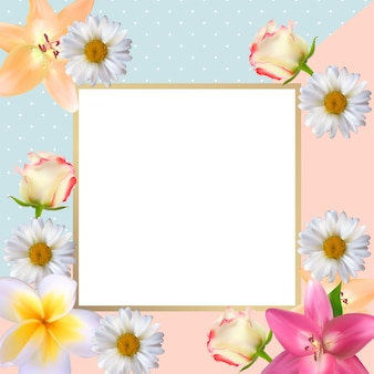 Cute background with frame and flowers collection set