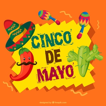 Cute background with great elements for cinco de mayo