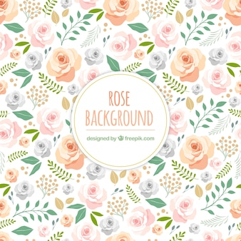 Cute background with hand drawn roses