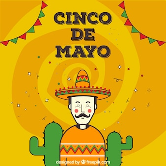 Cute background with happy man for cinco de mayo