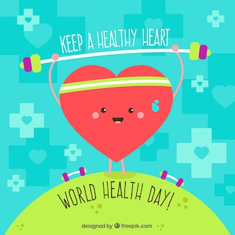 Cute background with heart exercising for world health day