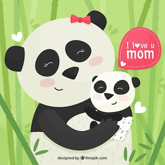 Cute background with pandas for mother's day