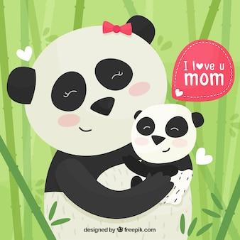 어머니의 날 팬더와 귀여운 배경