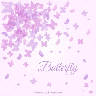 Cute background with purple butterflies