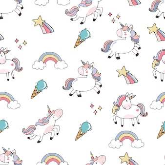 Cute background with unicorn