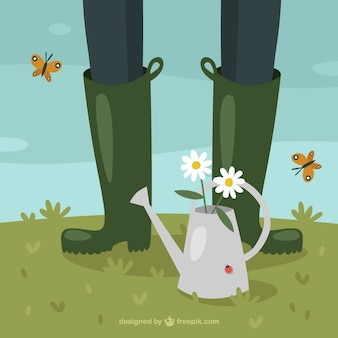 じょうろ、昆虫と人間の足とかわいい背景
