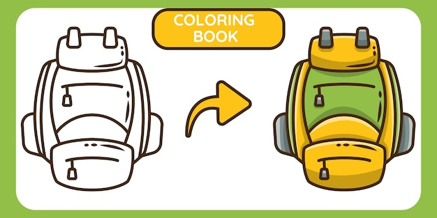 Cute backpack hand drawn cartoon doodle coloring book for kids