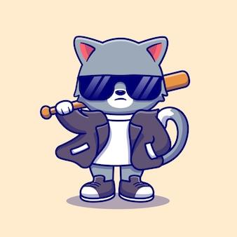 野球バット漫画アイコンイラストとスーツとサングラスを身に着けているかわいい悪い猫。動物のファッションアイコンコンセプト分離。フラット漫画スタイル
