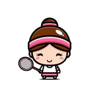 Cute badminton character