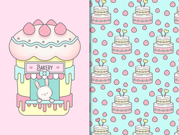 귀여운 베이커 토끼와 케이크 원활한 패턴