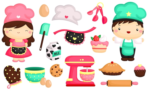 Cute baker vector set