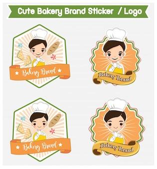 Cute bakery brands  for sticker print / logo