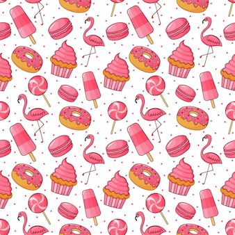 Cute bakery and candy seamless pattern. desserts for cafe or pastry shop. illustration vector.