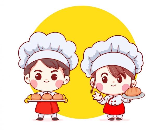 かわいいベーカリーシェフの少年と少女漫画アートイラストを笑顔のパンを運ぶ。