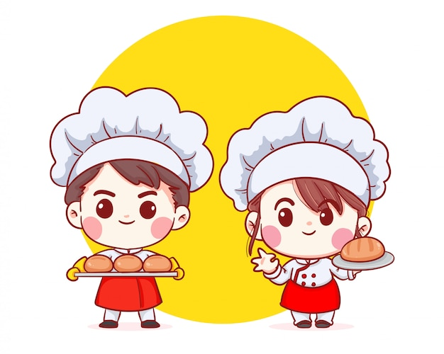 Cute bakery chef boy and girl carrying bread smiling cartoon art illustration.