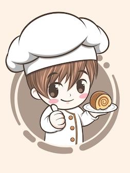 케이크를 들고 귀여운 빵집 요리사 소년-만화 캐릭터와 로고 그림