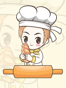 Cute bakery chef boy holding a bread - cartoon character and logo illustration