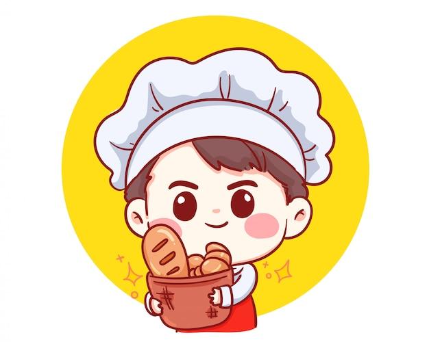かわいいベーカリーシェフの少年がパンを押しながら漫画アートイラストを笑顔します。