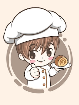 Cute bakery chef boy holding a cake - cartoon character and logo illustration
