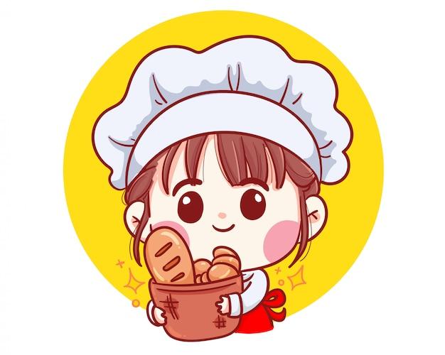 かわいいベーカリーシェフの女の子漫画アートイラストを笑顔のパンを運ぶ。