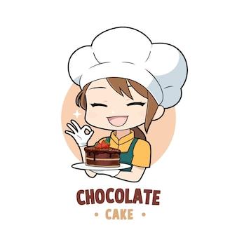 초콜릿 케이크 마스코트 로고 캐릭터를 들고 있는 귀여운 빵집 요리사 소녀 만화