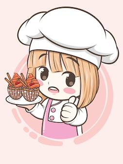 Милая девушка шеф-повар пекарни держит кекс - мультипликационный персонаж и логотип иллюстрации