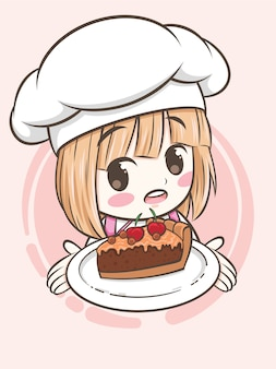 Cute bakery chef girl holding a chocolate pie cake - cartoon character and logo illustration