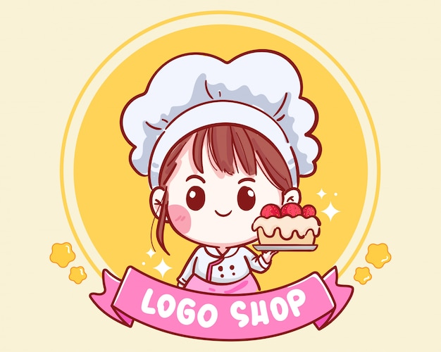 케이크 딸기 그림 로고를 들고 만화 예술 웃는 귀여운 베이커리 요리사 소녀.