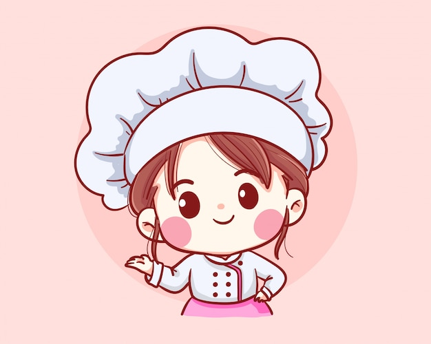 Cute bakery chef girl welcome smiling cartoon art illustration logo.